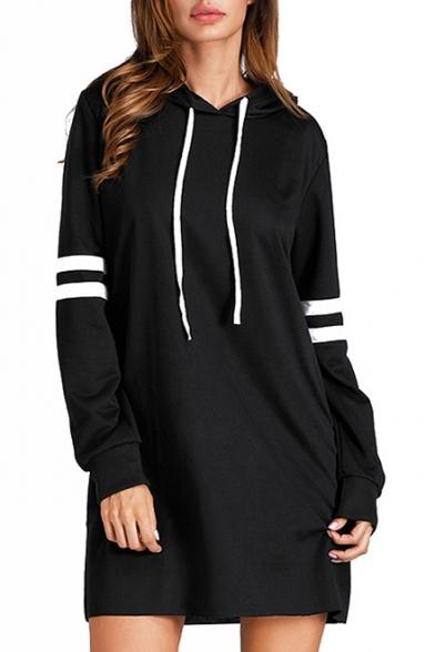 Simple Long Sleeves Striped Hooded Mini Dress