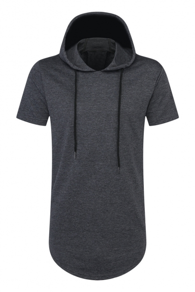 Zippered Plain Shirt Hooded Sleeve Side Simple Short T aUw7nxHHpq