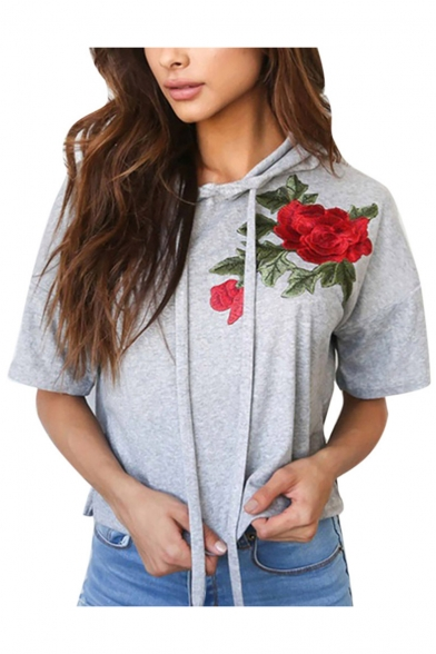 Hoodie Short Embroidery Loose Rose Sleeves Pullover Casual Floral Bqw0SxAnZ