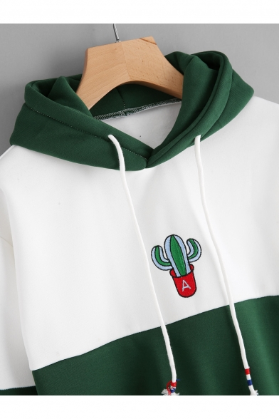 Chic Cactus Print Color Block Drawstring Hood Long Sleeve Loose Hoodie