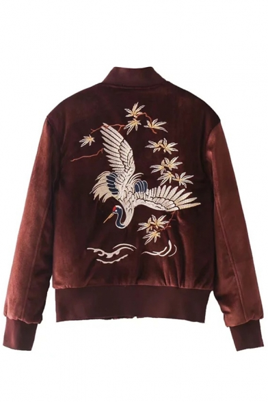 Chic Embroidery Crane Pattern Long Sleeve Stand-Up Collar Baseball Jacket
