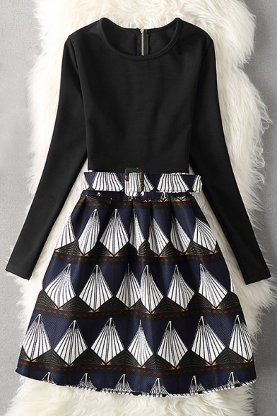 Chic Graphic Pattern Round Neck Long Sleeve A-Line Mini Dress