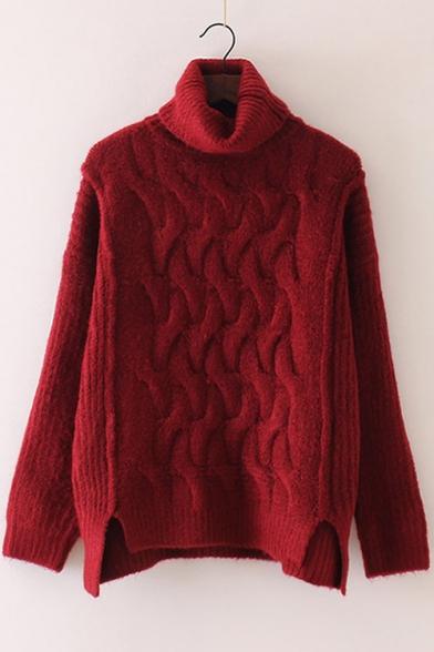 Chic Plain Spilt Side Long Sleeve Pullover Sweater