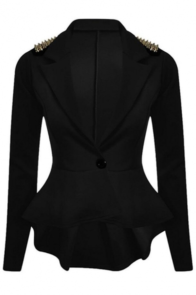 Long Sleeve Lapel Rivet Simple Notch Chic Blazer Embellished wxqXAfH7