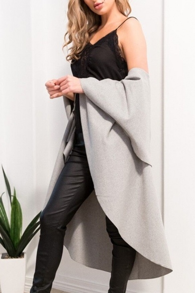 Coat Plain Oversize Sleeveless Cloak Tie Simple Front Lapel Chic PqnWaZRw