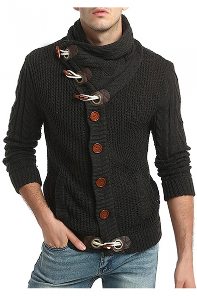 Sleeve with Breasted Turtleneck Single Long Chic Cardigan Knitted Pockets qSfHWTx