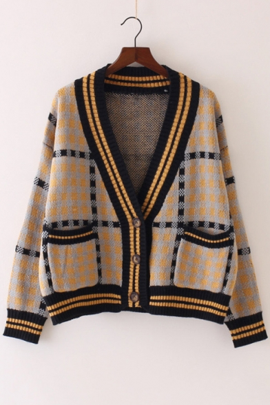 Cardigan Down Block Pattern Sleeve Color Plaid Buttons Long BfA0q