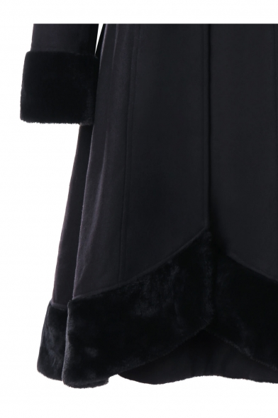 Elegant Faux Fur Hooded Double-Breasted Asymmetric Hem Longline Winter Coat with Attached Lacing on Back