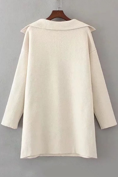 Longline Cardigan Sleeves Long Button Notched Lapel Plain One Elegant Knitted nawfz8qXIx