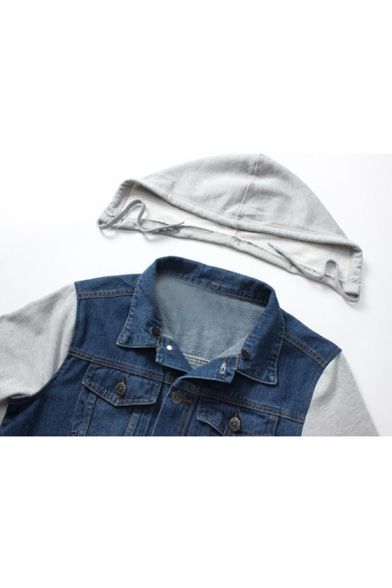 Jacket Denim Piece Two Hooded Fashion Sleeve Fake Long O7aUcqSw