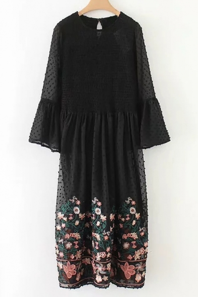 Fashion Sheer Sleeve line Dress Round A Long Floral Print Neck rg7qrp