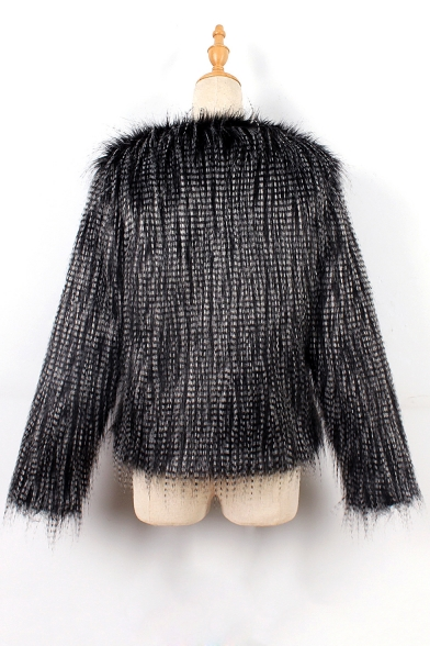 Fashion Sleeve Fur Long Open Faux Warm Coat Front rREwvArqxa