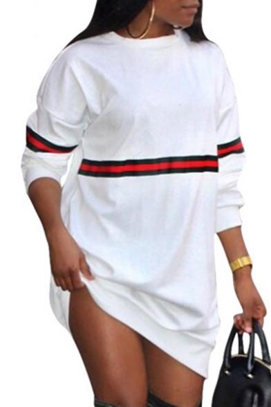 Leisure Striped Design Long Sleeves Round Neck Loose Mini Sweatshirt Dress