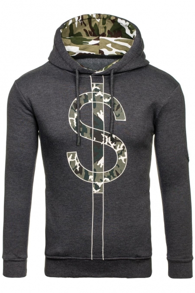 Long Camouflaged Pullover Pattern Letter Sleeve Padded Hoodie TtAqzxwpP