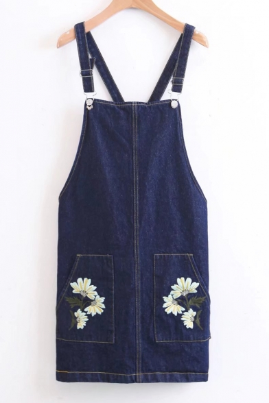 New Fashion Floral Embroidered Overall Mini Dress