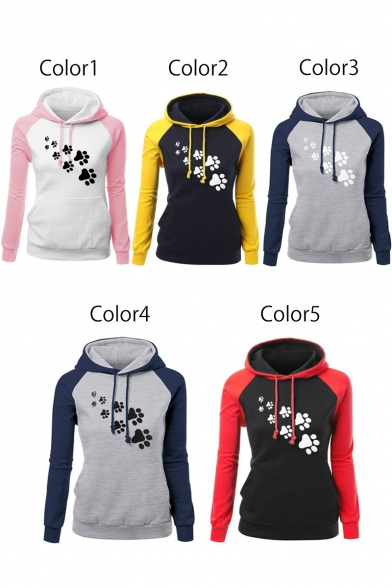 New Block Fashion Long Leisure Cartoon Sleeve Print Hoodie Color qvBRv