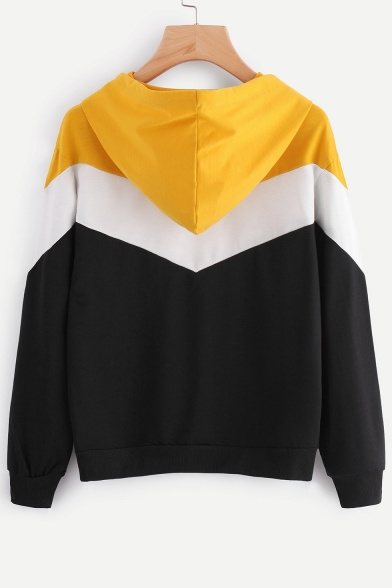 New Fashion Simple Color Block Panel Long Sleeve Hoodie