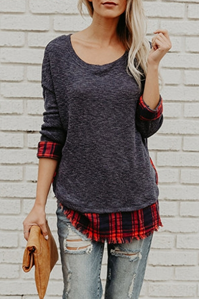 New Fashion Simple Plaid Panel Round Neck Long Sleeve Layered T-Shirt LC454442 фото