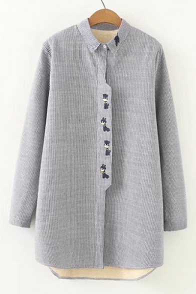 New Fashion Simple Warm Striped Embroidered Lapel Long Sleeve Buttons Down Shirt