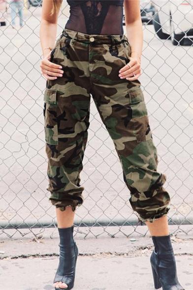 New Stylish Camouflage Print Zip Fly Flap Pocket Pants