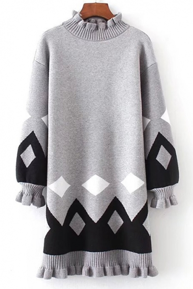 New Stylish Color Block Geometric Print Ruffle Trim Long Sleeve Knitted Dress