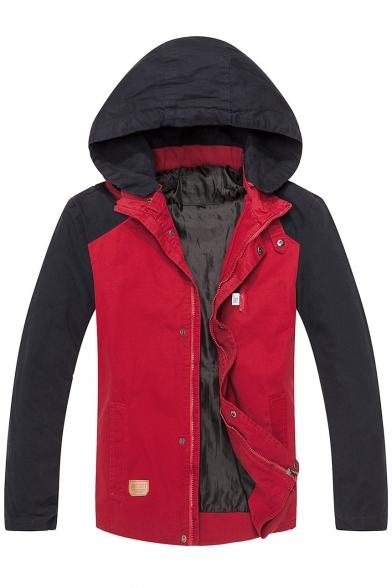 New Jacket Sleeve Color Hood Zip Long Up Print Block Drawstring Stylish UpwFUq6O
