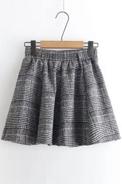 New Stylish Elastic Waist Classic Plaid Mini Skirt