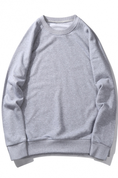 Plain Round Stylish Sweatshirt New Neck Pullover Long sleeve Simple Unisex CgxBdwqS