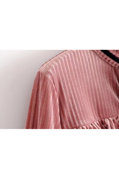 New Stylish Ruffle Embellished Bow Tie Neck Long Sleeve Shirt