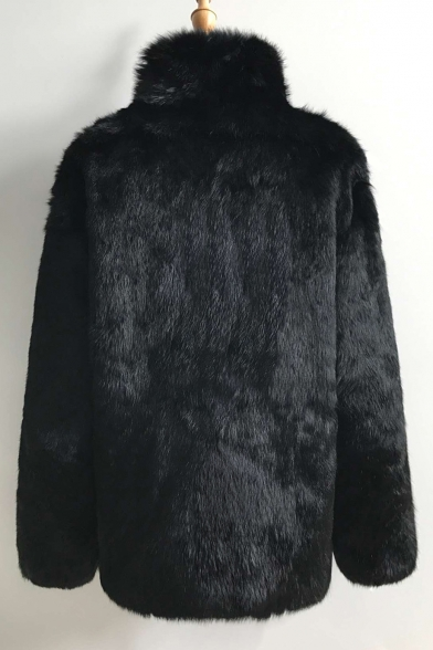 Sleeve Faux Stylish Up Plain Collar Fur Long New Coat Stand XaqHZ