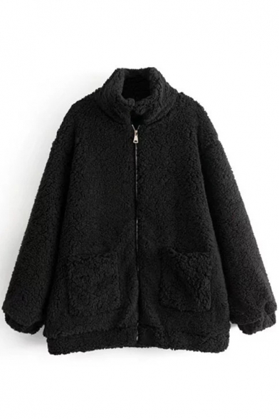 Collar Long Simple New Up Plain Zipper Stand Fur Coat Sleeve Stylish wAw7Sq1