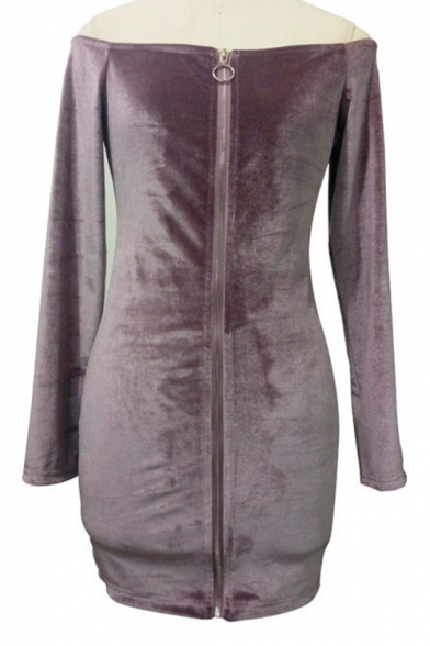 Sexy Cold Shoulders Long Sleeves Zip-Front Slim-Fit Bodycon Velvet Mini Dress