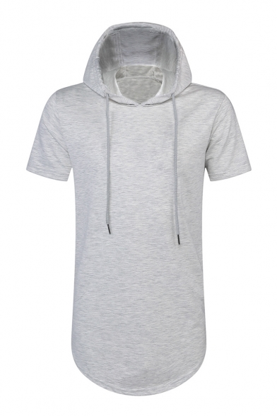Sleeve Short Simple T Side Hooded Plain Zippered Shirt w8xFZTqC
