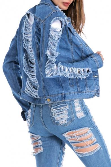 Collared Stylish Long Denim Jacket Sleeve Ripped dBCxBwqar
