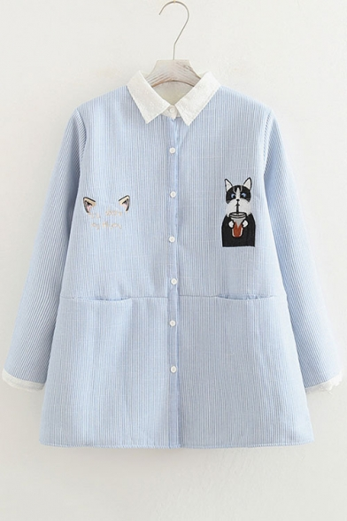 Cat Embroidered Striped Lapel Long Sleeve Buttons Down Shirt