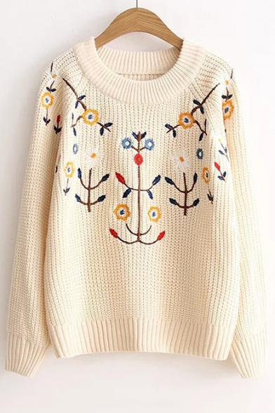 Chic Floral Embroidered Neck Sweater Pullover Sleeve Long Round BvBrq
