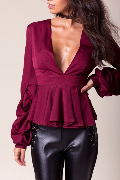 V Long Neck Pleated Sleeve Chic Sexy Blouse Hem Ow5qanxn