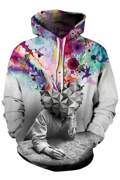 Colorful 3D Print Long Sleeve Pullover Hoodie with Kangaroo Pocket