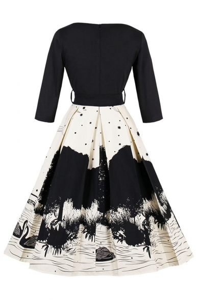 Elegant Monochrome Painting Swan Printed Half Sleeves V-Neck Fit & Flare Belted Midi Dress