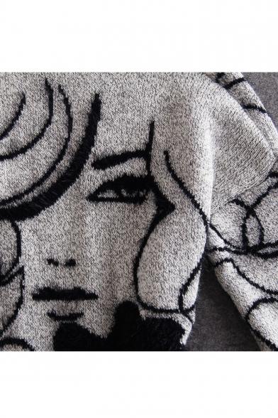 Fashion Front Print Character Long Open Cardigan Tunic Sleeve AzrAtqxRWw