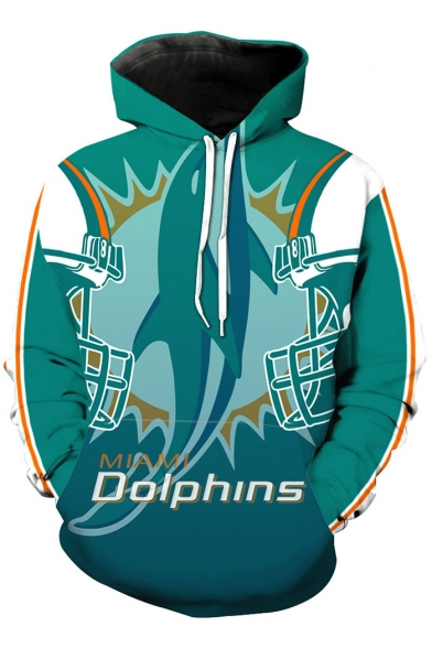 Pocket Hoodie Print Sleeve Dolphin Long Fashion Hood Drawstring faqOH