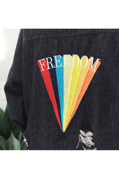 Fashion Embroidery Letter Rainbow Pattern Long Sleeve Ripped Denim Jacket