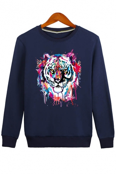 Unisex Round Fashion Long Print Neck Sweatshirt Pullover Casual Tiger Sleeve UwFwqnT0