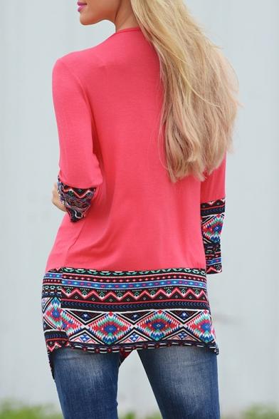 Fashion Tribal Print Long Sleeve Open Front Asymmetric Coat