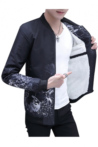 Long Placket Stand Zip Graphic Collar Sleeve Up Jacket Print Leisure 70YPFT