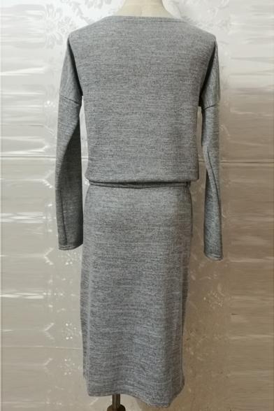 Leisure Simple Plain Round Neck Drawstring Waist Pencil Midi Dress