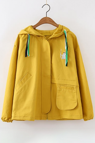 Zipper Stylish Coat Pattern Hooded Embroidered Sleeve Long New 6XqA0Sq
