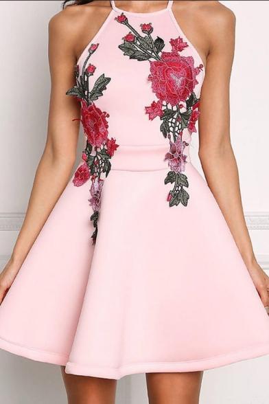 New Stylish Floral Pattern Open Back Mini A-Line Cami Dress