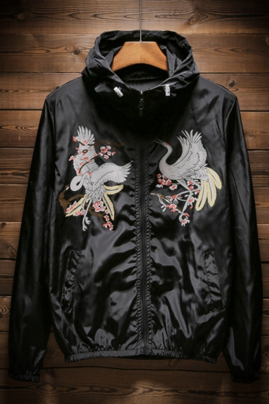 New Stylish Red-Crowned Crane Floral Print Zip Up Long Sleeve Sun-Proof Hoodie Coat