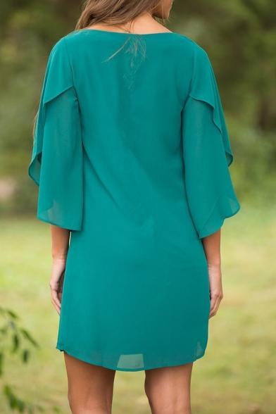 New Stylish Round Neck Ruffle Cuff Simple Plain Dress